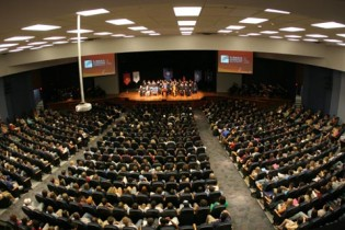 A picture of a weekly chapel service at Lubbock Christian University.