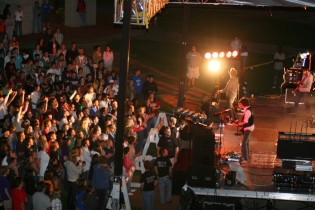 An aerial shot of the Sanctus Real worship concert at Spring Arbor University.