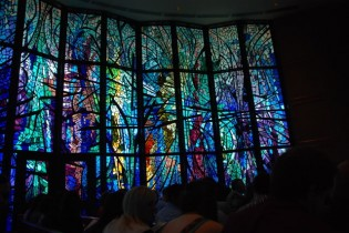 A view of the stain glass window at Abilene Christian University's Chapel on the Hill.
