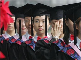 Looking to the future: China's current crop of university graduates are faced with a competitive job market with extremely bleak prospects. Over 25% of 2010's graduates are still unemployed.